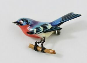 Takahashi bird pin brooch wire leg & push pin fastened clasp #1 hand carved wood