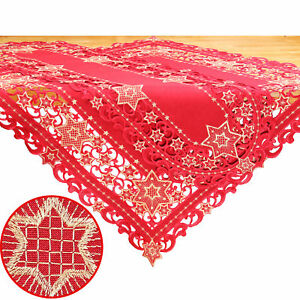 Gold Star Christmas Advent Tablecloth Runner Overlay Doily Linen-look Red