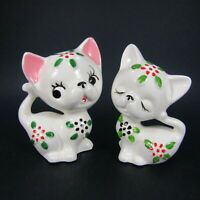 Vintage Cat Salt Pepper Shaker Set White with painted flowers Ceramic  INV455