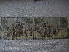 """Old Vintage French Jacquard Tapestry Harvesting Scene, Made In France, 57"""" X 19"""""""