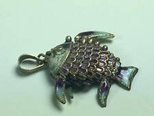 Sterling silver articulated enamel fish pendant / charm