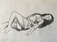 nude female Realistic MODERN SIGNED ORIGINAL CHARCOAL DRAWING