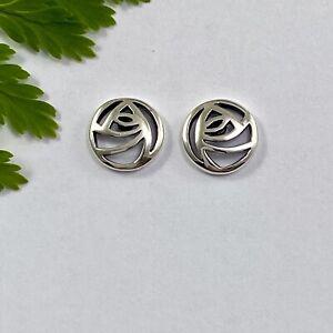 Charles Rennie Mackintosh Stylised Rose Solid Sterling Silver 925 Stud Earrings