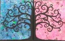 Tree of Life. Diptych.  OOAK Mixed Media Collage Artwork on Canvas