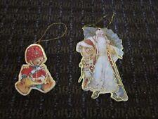 Christmas Ornaments Father Xmas, Teddy Victorian look Cardboard Gilded Diecut