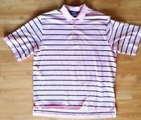 Polo Golf Ralph Lauren Mens Pink Navy Striped Short Sleeve Shirt Sz XL