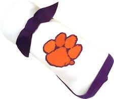 Clemson Tigers Baby Receiving Blanket - Purple Trim