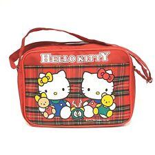 Vintage 1989 HELLO KITTY Sanrio Red Plaid Handbag Bag w/ Zipper Pouch and Pocket