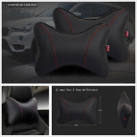 2 x Black+Red PU Leather Car Headrest Seat Head Neck Rest Pillows Wear-resistant