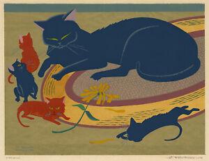 A. JOHN KAUNUS, 'MEOW!', CAT FAMILY, modernist serigraph, signed, c. 1950.