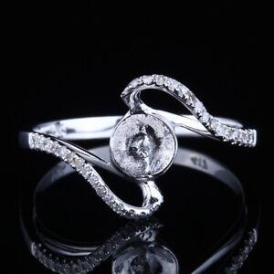 Solid 18k White Gold Semi Mount Round 8.5-10.75mm Diamonds Ring Setting Jewelry