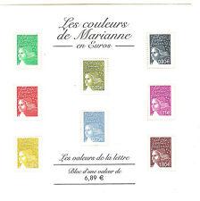 BLOC N° 86 COULEURS MARIANNE TIMBRES FRANCE NEUFS SANS CHARNIERES