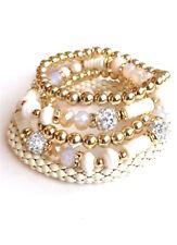 Cream Gold 5pc. Beaded Stretch Elastic Fashion Jewelry Bracelet Set