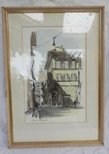 Incorniciato ITALIANO ACQUERELLO PITTURA-FIRENZE-VIA DELL'Duomo-FIRMATO - 1956