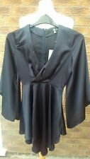 Missguided Dress Size 6 navy liquid satin plunge neck mini cocktail/party bnwt
