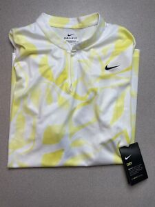 Nike Womens Golf Victory Print Polo Shirt Yellow White CK0141 731 Size XXL