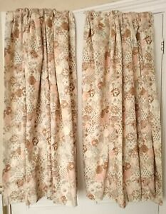 """Pair of Patchwork Design Curtains D-48"""" W-65"""" Pencil Pleat Lined Country Cottage"""