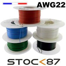 fil souple de câblage AWG22 0,34mm² bobine 100m ou 50m , modélisme électronique