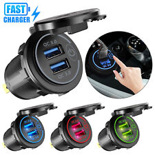 Dual USB QC 3.0 Fast Car Charger Socket Power Outlet For Boat Marine RV Mobile