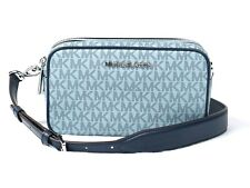 Michael Kors Connie Small Double Zip Camera Crossbody Bag in Pale Blue