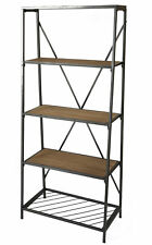 New Uniquewise 4-Shelf Wooden Bookcase, Wood and Metal Bookshelf, QI003337