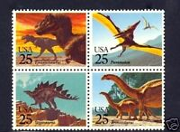 U S - 1989 - DINOSAURS - # 2425a - MINT  BLOCK/SET OF 4!