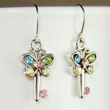 w Swarovski Austrian Crystal Rhinestone Cute Cutout Butterfly Key Earrings Xmas