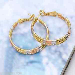 18K Gold Filled Two Tone Hoop Earrings (E-326)