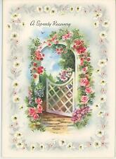 VINTAGE ROSE TRELLIS ARBOR FENCE GATE MOONFLOWERS GARDEN BLUEBIRD GET WELL CARD