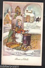 Bambina venditrice di Castagne Augurale Natale Paesaggio innevato PC Circa 1930