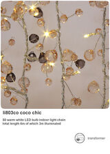 String of 50 LED Fairy Lights Coco Chic Mains Operated Crystal