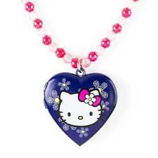 Hello Kitty Necklace Daisy Heart Locket Blue & Pink Sanrio NWT