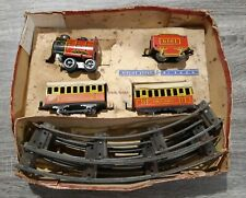 VINTAGE TIN TOY WIND UP TRAIN SET 1950 BOTTOM BOX ONLY FAIR