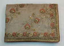 Bollywood Hand Work Grey Raw Silk Saree Indian Designer Sari Bridal Party Dress