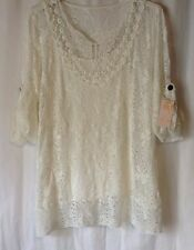 NEW LADIES SIZE 14-16 TWIN SET VEST WITH NET LACE OVER TOP ROLL UP SLEEVE TUNIC