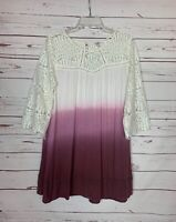 Umgee USA Boutique Women's L Large Purple Ombre Lace Cute Spring Tunic Top Shirt