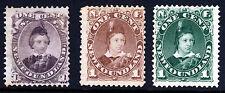 Terranova Canada Regina Vittoria 1868-87 Principe di Galles 1c SG 34, 44 & 50 MNG
