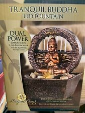 Tranquil Buddha LED Fountain w/ Flowing Water Dual Power Natural River Rocks NIB
