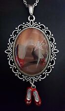 Wizard Oz House Ruby Slippers Wand Large Silver Pendant Charm Necklace