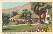 Palm Springs California view of The Desert Inn front terrace antique pc Z17850