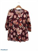 Kim & Cami Maroon Red Long Sleeve Floral Blouse Top Plus Size 1X Scoop Neck
