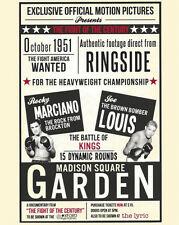 1951 Boxers JOE LOUIS vs ROCKY MARCIANO Glossy 8x10 Photo Match-Up Poster