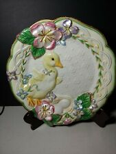 """Fitz & Floyd Easter� Plate Flowers � Spring Time Duck w nest of eggs 8.5"""""""