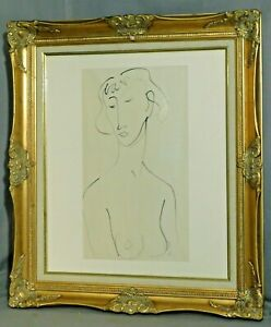 Vintage Female Nude Study Pen INk Painting Drawing Howard Church ala Matisse 60s