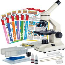 AmScope 40X-1000X Monocular LED Microscope Kit-USB Camera, Slides & Experiments
