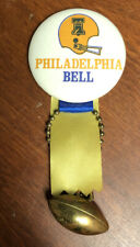 RARE 1974 WFL World Football League Philadelphia Bell Button Pinback Ribbon