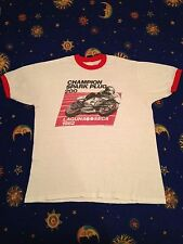 b54461193 Vintage Laguna Seca t shirt 80s Ringer Champion Spark Plug Motorcycle M  FreeShip
