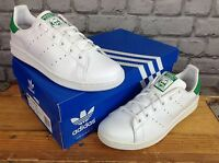 ADIDAS UK 5 1/2 EU 38 2/3 STAN SMITH WHITE LEATHER TRAINERS GREEN LADIES GIRLS