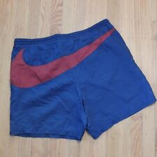 Nike Vintage Big Swoosh Swim Trunks Blue Red Shorts Size Medium 90s