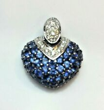 LeVian 14K White Gold Pave Sapphire Diamond Heart Pendant